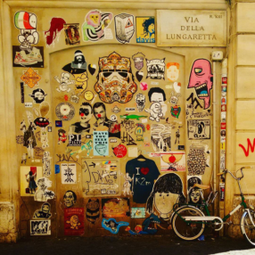 Stickers & bicycle.