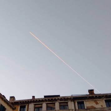 The pink line in the sky.